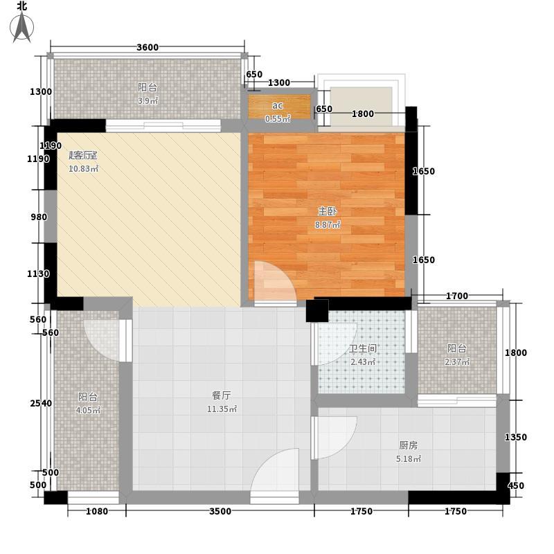 香木林领馆尚城5.17㎡2栋1单元标准层B2户型1室1厅1卫1厨