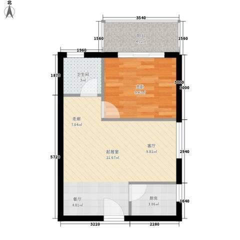 兰蒂斯城1室0厅1卫1厨47.00㎡户型图