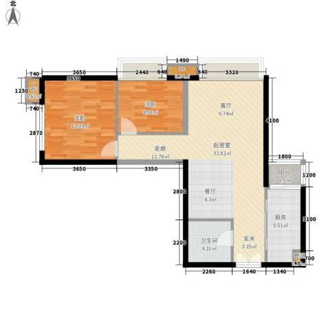 华远君城2室0厅1卫1厨88.00㎡户型图