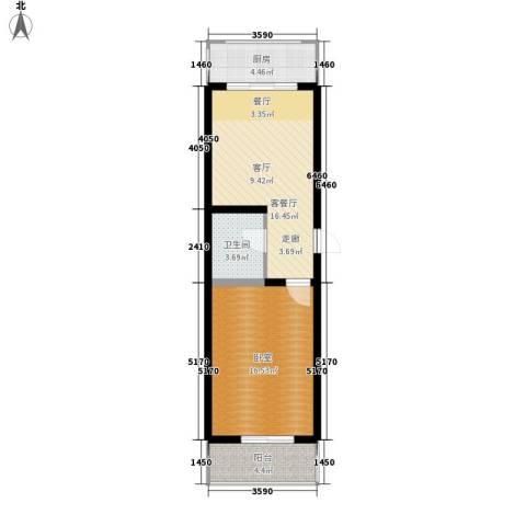 神奇庭院1厅1卫1厨55.00㎡户型图