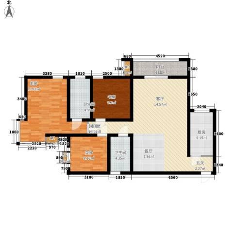 嘉园蓝湖九郡3室0厅2卫1厨113.00㎡户型图