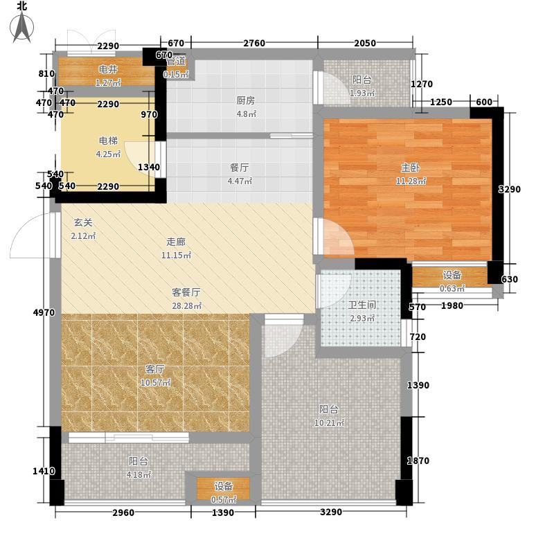 恺信时代天城79.71㎡一期标准层E3户型2室1厅1卫1厨