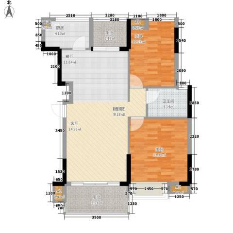 盛世华章2室0厅1卫1厨90.00㎡户型图