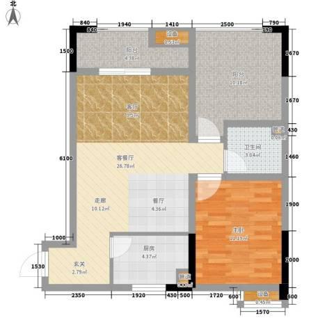 恺信时代天城1室1厅1卫1厨76.00㎡户型图