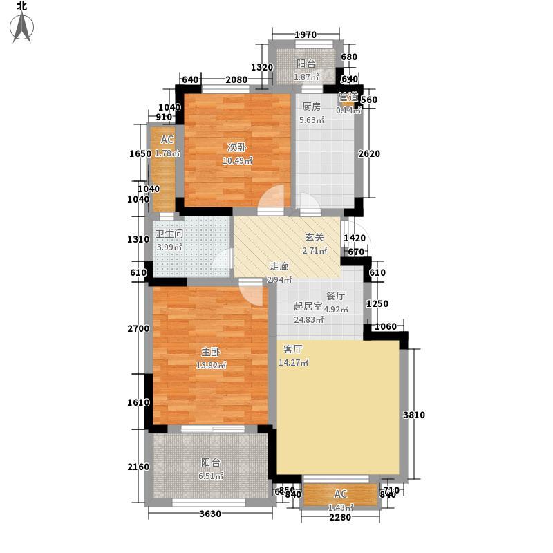 威尼斯水城83.13㎡九街区04#1-18层Q户型2室2厅1卫1厨