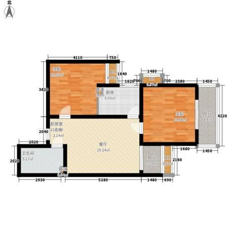 大洋时代国际2室0厅1卫1厨80.00㎡户型图