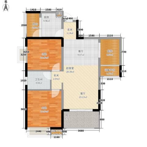 钱隆学府二期2室0厅1卫1厨92.00㎡户型图