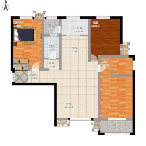揽盛・金广厦3室1厅1卫1厨149.00㎡户型图