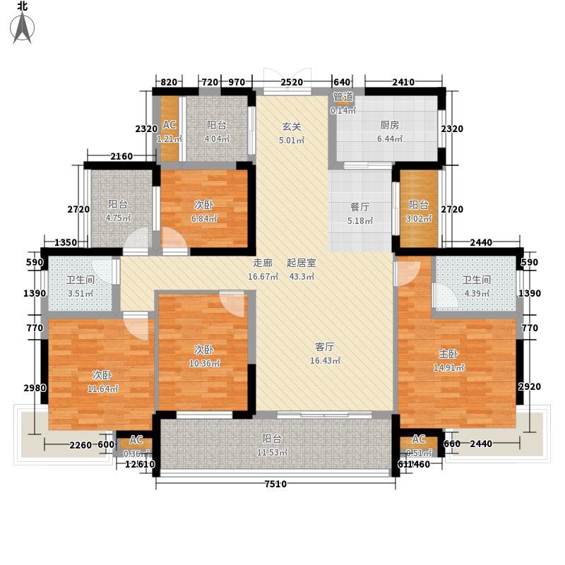 融科东南海二期155.00㎡北海D3户型4室2厅2卫1厨