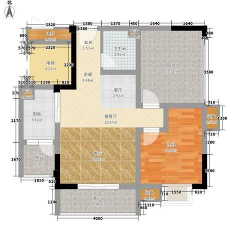 恺信时代天城1室1厅1卫1厨74.00㎡户型图