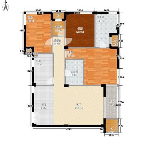 融科檀香山3室0厅2卫1厨139.00㎡户型图