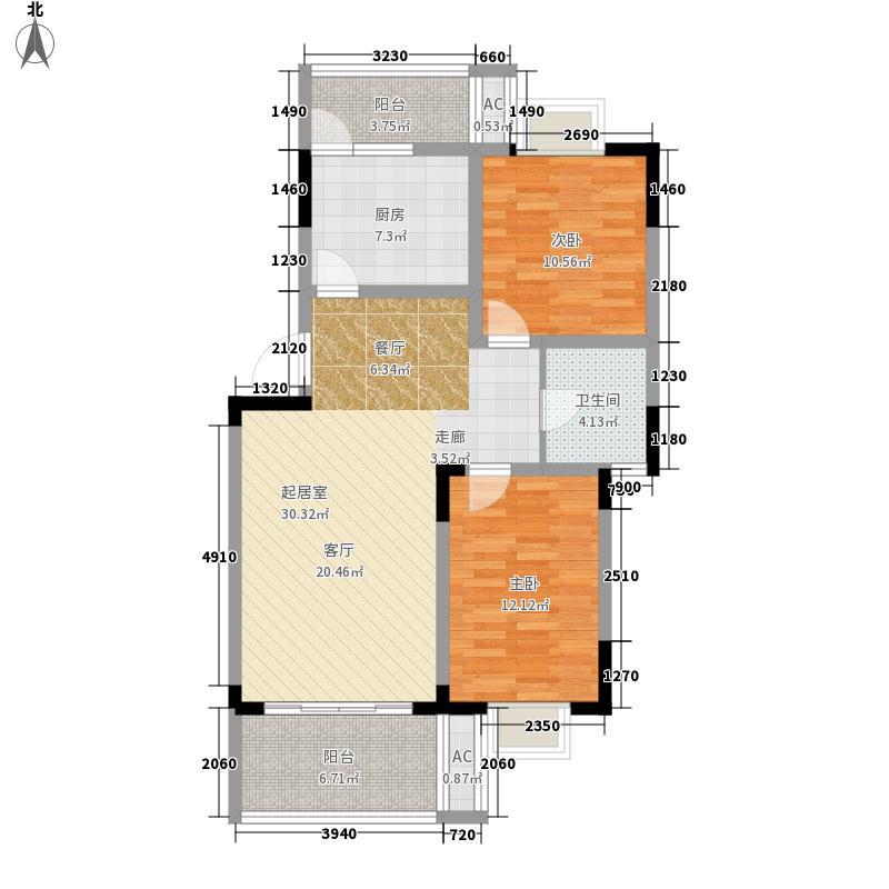 水岸雅居88.56㎡水岸雅居户型图1-2-1-1型2室2厅1卫1厨户型2室2厅1卫1厨