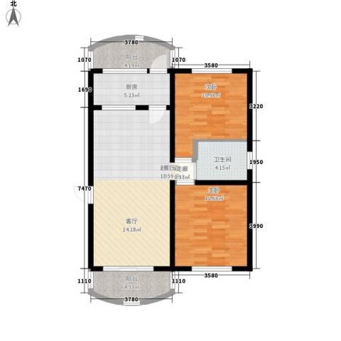 龙阳花苑三期2室0厅1卫1厨79.00㎡户型图
