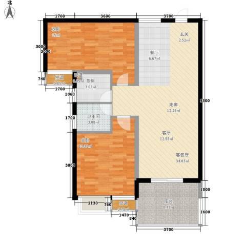 御龙湾2室1厅1卫1厨96.00㎡户型图