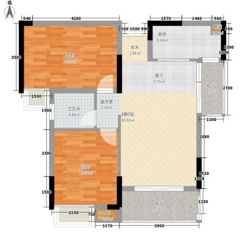 盛世华章2室0厅1卫1厨89.00㎡户型图
