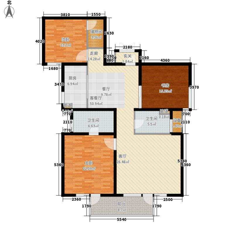 上海香溢花城户型图4#-C户型 3室2厅2卫1厨
