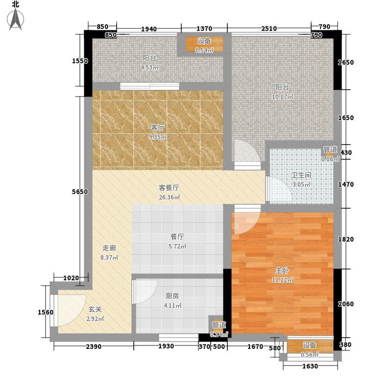 恺信时代天城76.41㎡一期标准层b2户型2室2厅1卫1厨