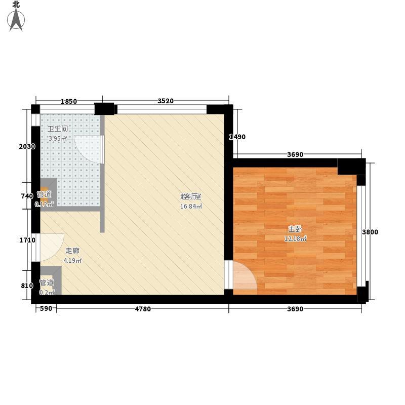 佳润临江上品50.94㎡6-22层标准层19户型1室1厅1卫1厨