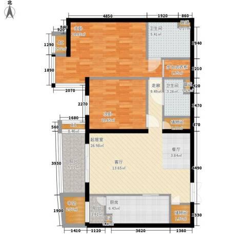 富卓花园2室0厅2卫1厨99.88㎡户型图