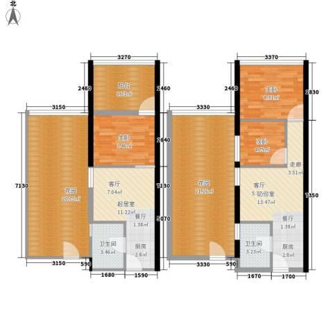 中山SOHO公寓3室0厅2卫0厨142.00㎡户型图