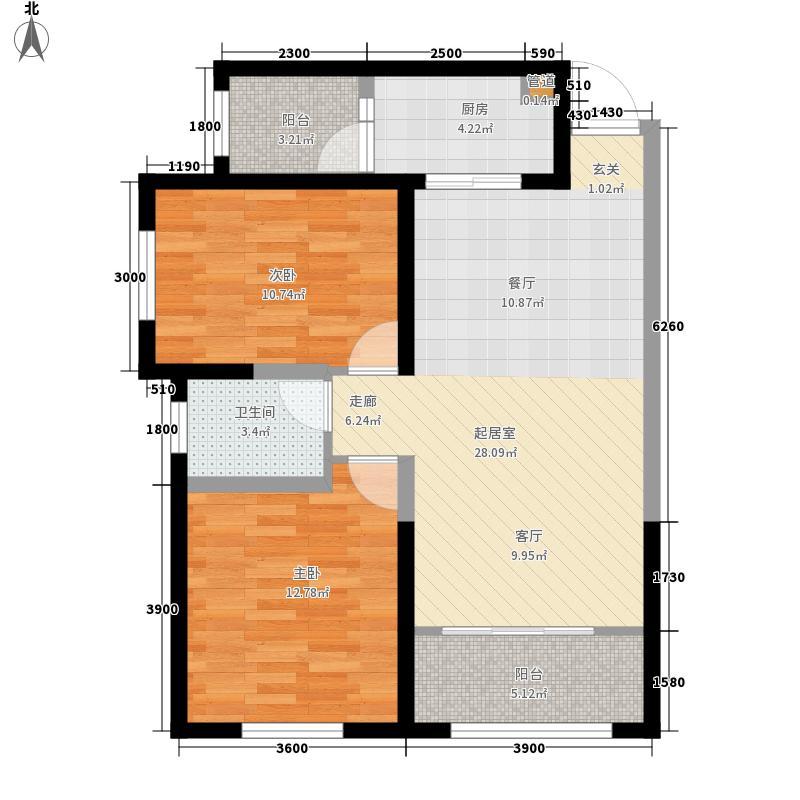蓝宝石大厦F户型:两房两厅一卫,98.73平米_调整大小户型2室