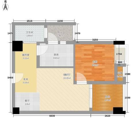 中航国际交流中心1室1厅1卫1厨58.00㎡户型图