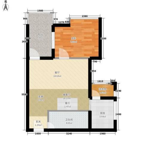 阳光山海湾1室1厅1卫1厨51.00㎡户型图