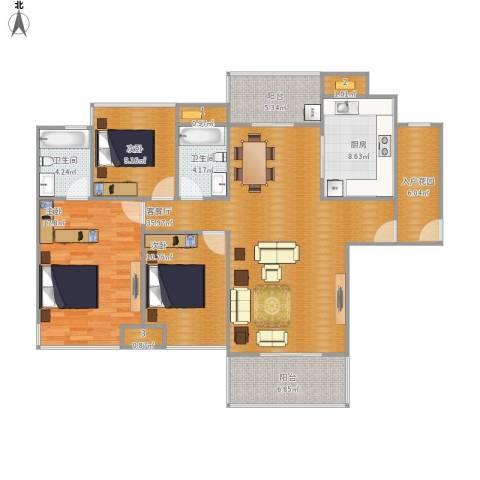 爱ME公园3室1厅2卫1厨151.00㎡户型图
