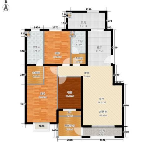 祥泰香榭花堤3室0厅2卫1厨145.00㎡户型图