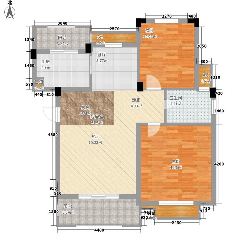威尼斯水城86.06㎡十街区18#1-6层M4户型2室2厅1卫1厨