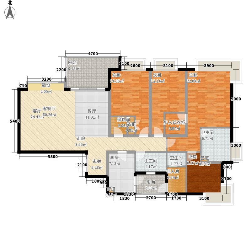 雅颂居二期1.63㎡二期9栋标准层F4户型4室2厅2卫1厨