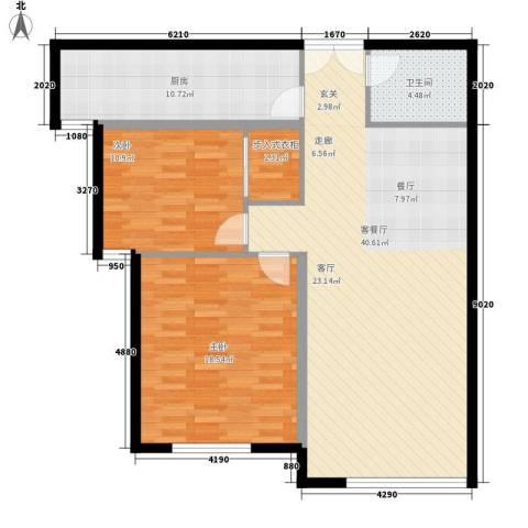 三园新城佳苑2室1厅1卫1厨87.55㎡户型图