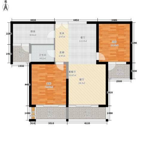 滨江豪园2室1厅1卫1厨104.00㎡户型图