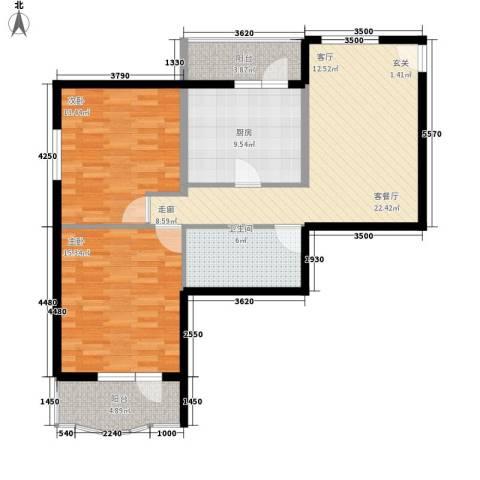 地铁古城家园2室1厅1卫1厨85.00㎡户型图