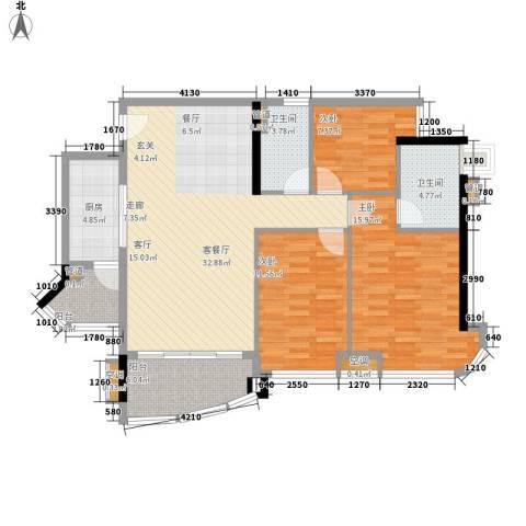 合景朗悦君庭3室1厅2卫1厨102.00㎡户型图
