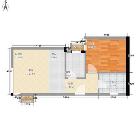 博客雅居1室0厅1卫1厨59.00㎡户型图
