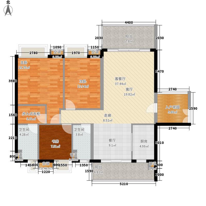 恒创恒福花园124.90㎡恒创恒福花园户型图3期6幢标准层03户型3室2厅2卫1厨户型3室2厅2卫1厨