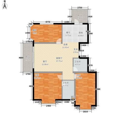 富丽国际3室1厅2卫0厨138.00㎡户型图