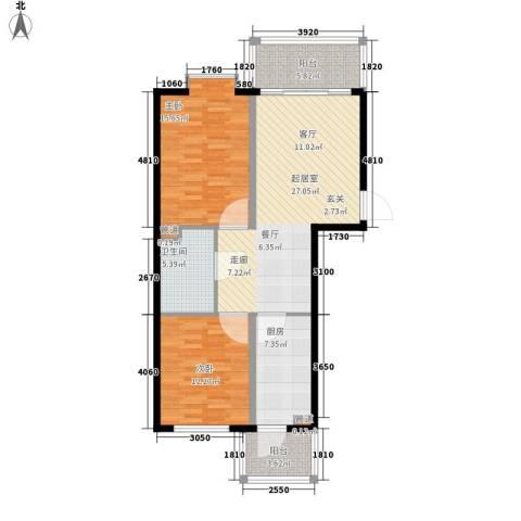 富丽国际2室0厅1卫1厨87.00㎡户型图