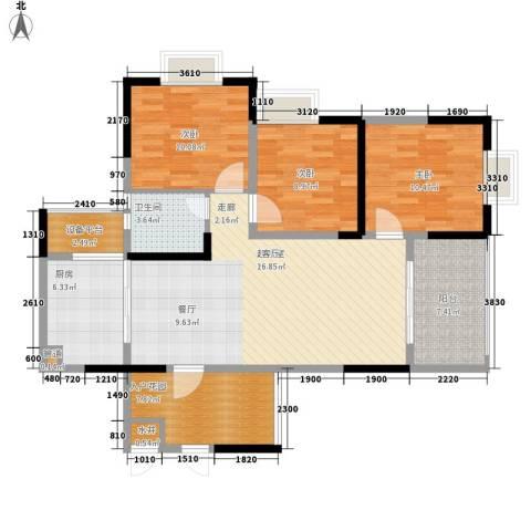 钱隆学府二期3室0厅1卫1厨104.00㎡户型图