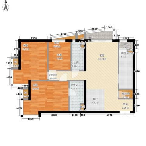 富卓花园3室0厅2卫1厨96.66㎡户型图