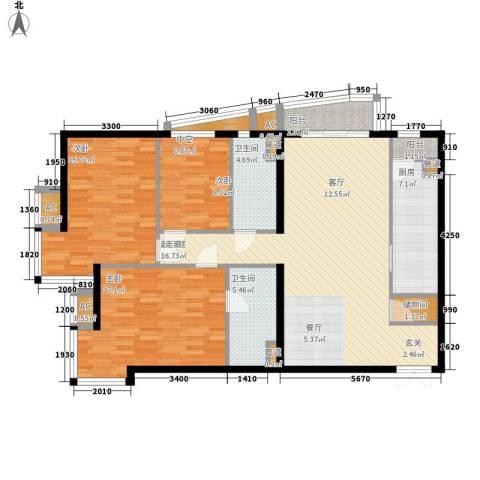 富卓花园3室0厅2卫1厨118.67㎡户型图