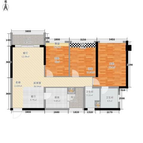 敏捷・金月湾3室0厅2卫1厨113.00㎡户型图