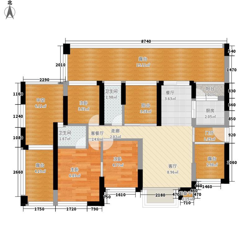 西岸观邸112.95㎡西岸观邸户型图3栋B座03房3室2厅2卫1厨户型3室2厅2卫1厨
