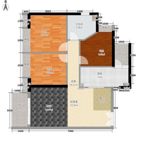 元邦明月水岸3室0厅1卫1厨104.00㎡户型图
