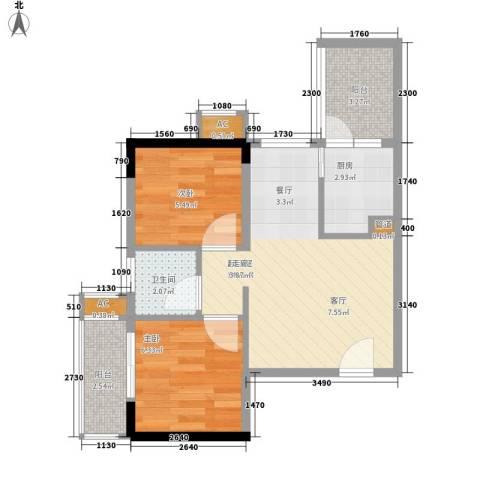 三力国际2室0厅1卫1厨56.00㎡户型图