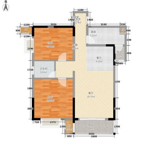 三力国际2室0厅1卫1厨94.00㎡户型图