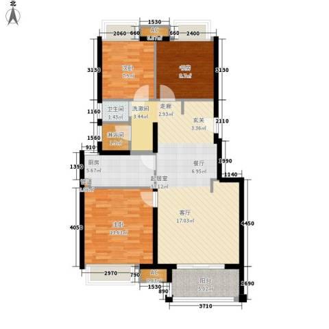 中锐龙湾1号3室0厅1卫1厨90.00㎡户型图