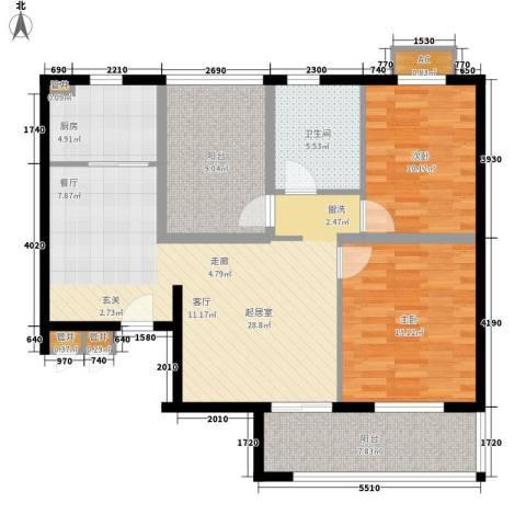 金龙花园二期2室0厅1卫1厨116.00㎡户型图