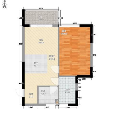 金色港湾五期1室1厅1卫1厨69.00㎡户型图